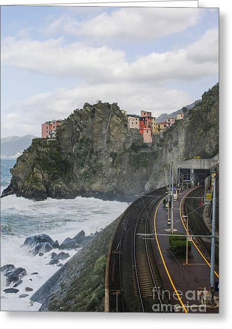 Sea Platform Greeting Cards - Trainstation in Manarola Italy Greeting Card by Patricia Hofmeester