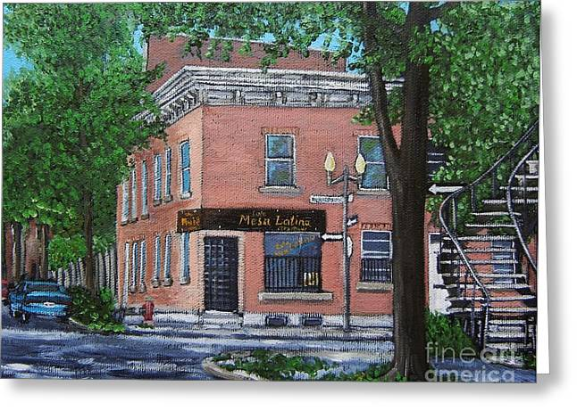 Montreal Eateries Greeting Cards - Traiteur Mesa Latina  Greeting Card by Reb Frost