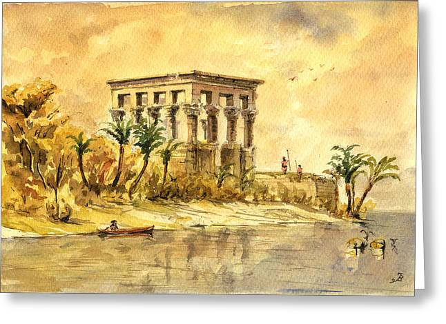 Ancient Ruins Paintings Greeting Cards - Trajan kiosk temple aswan egypt Greeting Card by Juan  Bosco