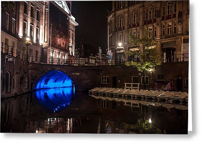 Lumen Greeting Cards - Trajectum Lumen Project. Blue Bridge 2. Netherlands Greeting Card by Jenny Rainbow