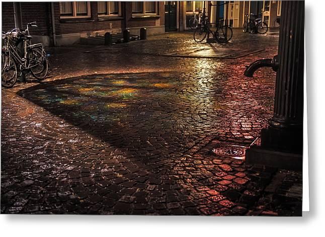 Night Scenes Greeting Cards - Trajectum Lumen Project. BUURKERKHOF 10. Netherlands Greeting Card by Jenny Rainbow