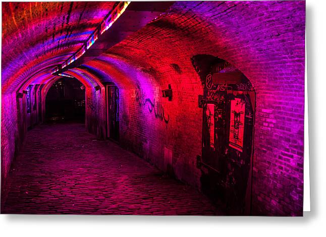 Evening Scenes Greeting Cards - Trajectum Lumen Project. GANZENMARKT TUNNEL 2. Netherlands Greeting Card by Jenny Rainbow