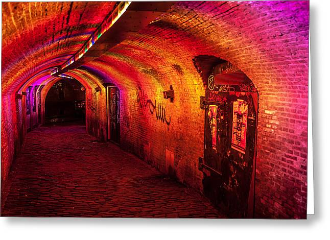 Evening Scenes Greeting Cards - Trajectum Lumen Project. GANZENMARKT TUNNEL 4. Netherlands Greeting Card by Jenny Rainbow