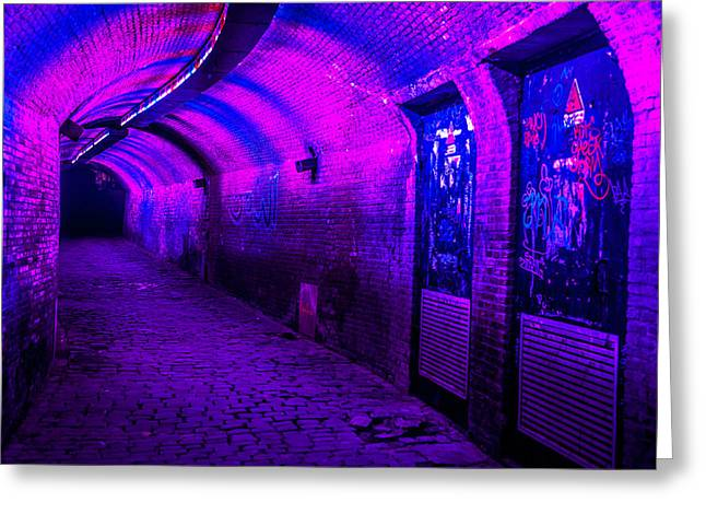 Evening Scenes Greeting Cards - Trajectum Lumen Project. GANZENMARKT TUNNEL 5. Netherlands Greeting Card by Jenny Rainbow