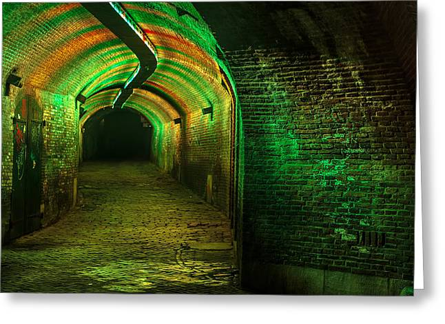 Evening Scenes Greeting Cards - Trajectum Lumen Project. GANZENMARKT TUNNEL 7. Netherlands Greeting Card by Jenny Rainbow
