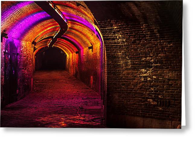 Evening Scenes Greeting Cards - Trajectum Lumen Project. GANZENMARKT TUNNEL 8. Netherlands Greeting Card by Jenny Rainbow