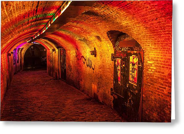Evening Scenes Greeting Cards - Trajectum Lumen Project. GANZENMARKT TUNNEL. Netherlands Greeting Card by Jenny Rainbow