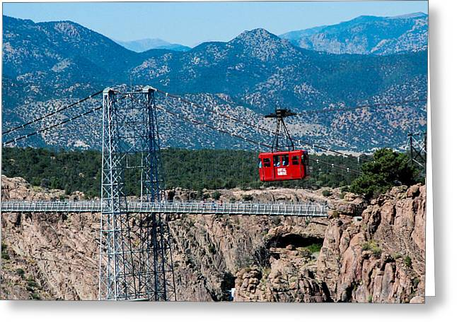 Geobob Greeting Cards - Tram and Suspension Bridge Royal Gorge Colorado Greeting Card by Robert Ford