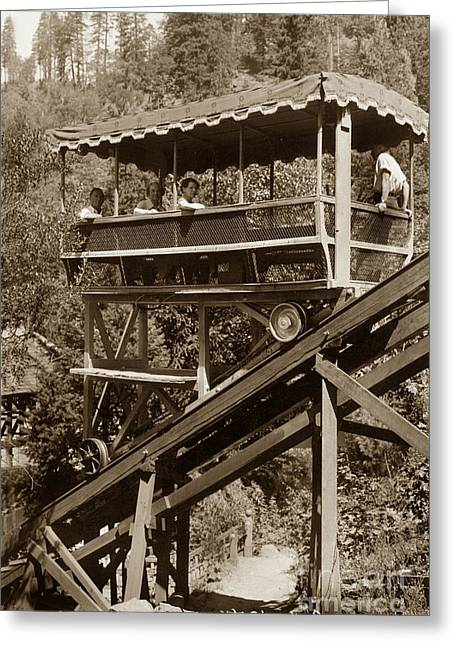 Siskiyou County Greeting Cards - Tram at Shasta Springs California circa 1925 Greeting Card by California Views Mr Pat Hathaway Archives