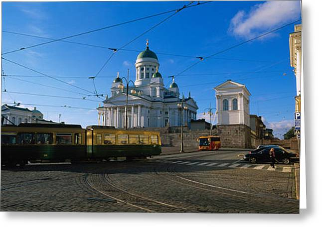 Tram Photographs Greeting Cards - Tram Moving On A Road, Senate Square Greeting Card by Panoramic Images