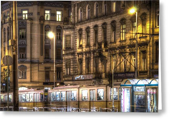 Long Street Greeting Cards - Tram night Greeting Card by Nathan Wright