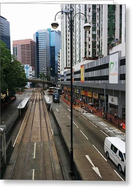 Hong Kong Pastels Greeting Cards - Tram Ride Greeting Card by Vivian Menzies