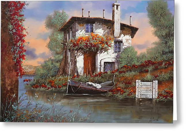 tramonto con bougainvillea Greeting Card by Guido Borelli