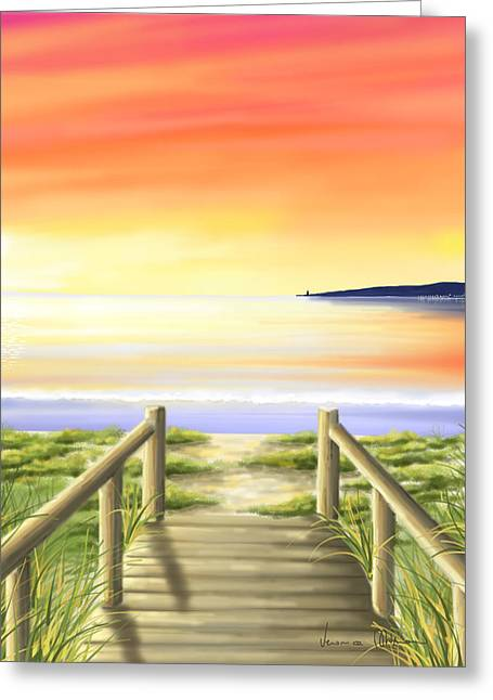 Sunset Seascape Greeting Cards - Tramonto di fine estate Greeting Card by Veronica Minozzi