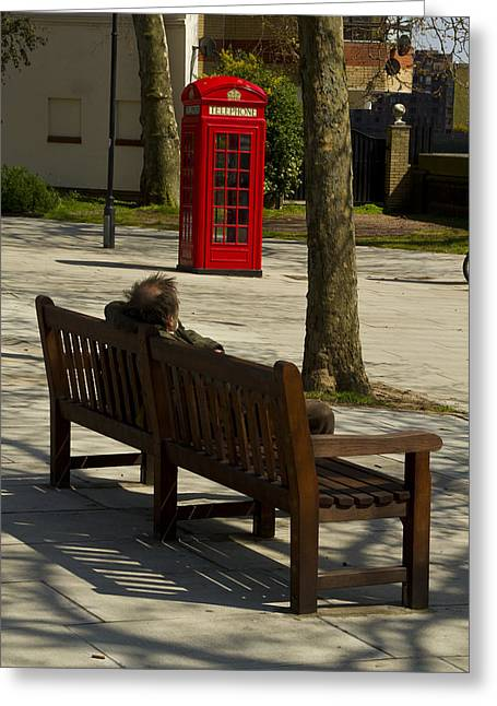 Chelsea Greeting Cards - Tramp on a bench  Greeting Card by David French