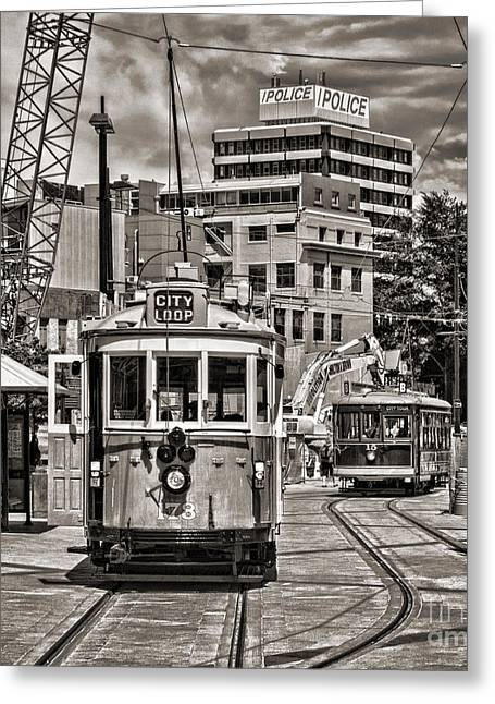 Tram Photographs Greeting Cards - Trams in Cathedral Square Christchurch New Zealand Greeting Card by Colin and Linda McKie