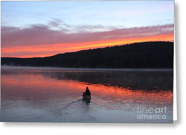 Tuscarora Greeting Cards - Tranquil Canoe Greeting Card by Steve Ratliff