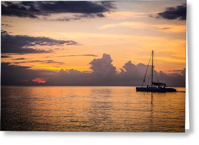 Jamaican Sunset Greeting Cards - Tranquil Cruise Greeting Card by Todd Reese