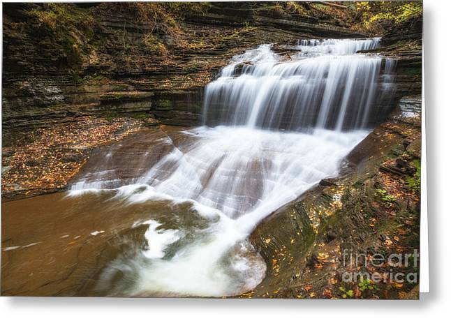 Buttermilk Falls Greeting Cards - Tranquil Falls  Greeting Card by Michael Ver Sprill