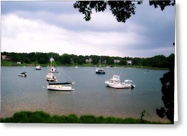 Boats In Harbor Greeting Cards - Tranquil Harbor Cape Cod Greeting Card by Jim Rabenstine