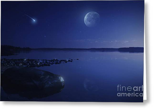 Sea Moon Full Moon Greeting Cards - Tranquil Lake Against Starry Sky, Moon Greeting Card by Evgeny Kuklev