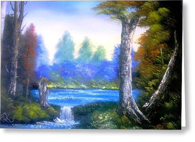 Bob Ross Paintings Greeting Cards - Tranquil Lake Greeting Card by Fineartist Ellen