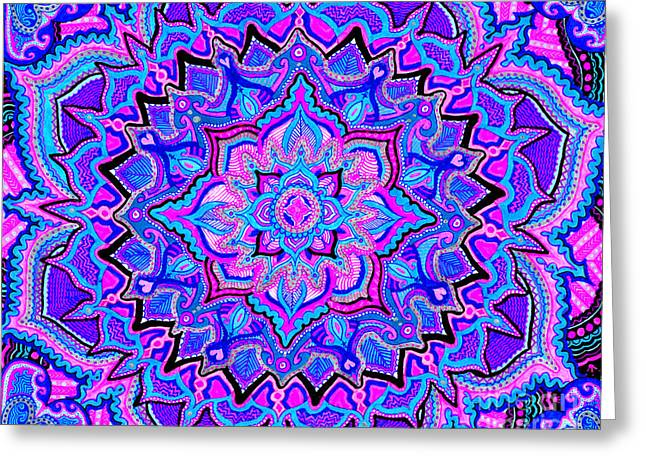 Morphing Drawings Greeting Cards - Tranquil Lotus Greeting Card by Baruska A Michalcikova