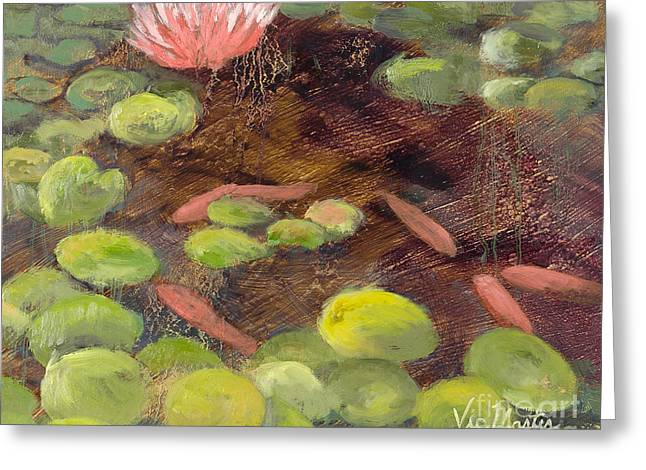 Splashy Paintings Greeting Cards - Tranquil Moments-Rectangle with Gold Leaf by Vic Mastis Greeting Card by Vic  Mastis