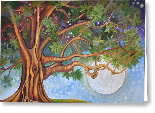 Tree Roots Paintings Greeting Cards - Tranquil Moonlight Greeting Card by Cedar Lee