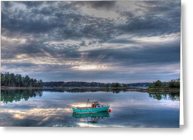 Lobsterboat Greeting Cards - Tranquil Mooring Greeting Card by Patrick Groleau
