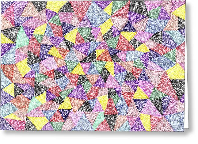 Geometric Image Drawings Greeting Cards - Tranquil No 74 Greeting Card by J A   Art Gallery