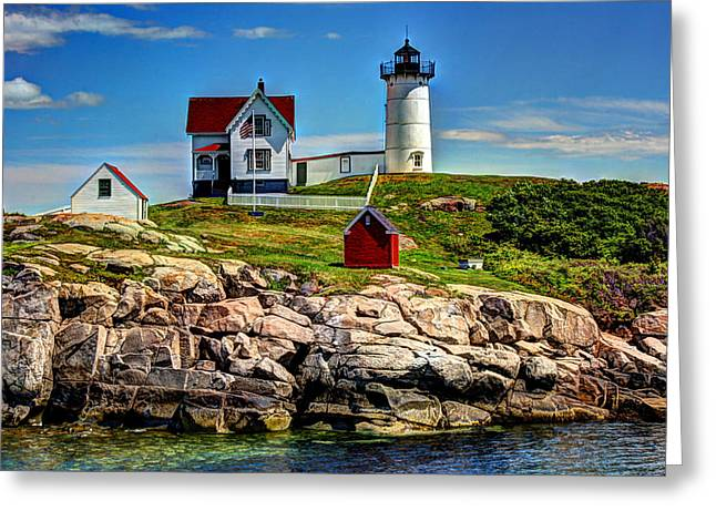 Cape Neddick Lighthouse Greeting Cards - Tranquil Nubble Light Greeting Card by Laura Duhaime
