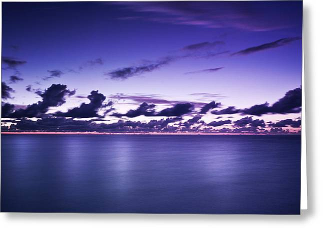 Reflections Of Sky In Water Greeting Cards - Tranquil Ocean At Night Against Moody Greeting Card by Evgeny Kuklev