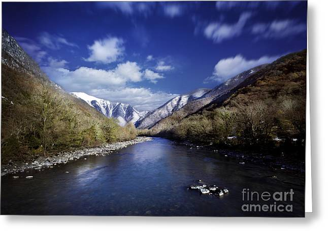 Reflections Of Sky In Water Greeting Cards - Tranquil River In The Mountains Greeting Card by Evgeny Kuklev