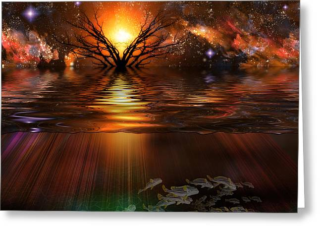 Reflections Of Trees In River Digital Greeting Cards - Tranquil Scene Greeting Card by Bruce Rolff
