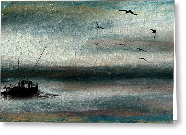 Masts Pastels Greeting Cards - Tranquil Sea Greeting Card by R Kyllo