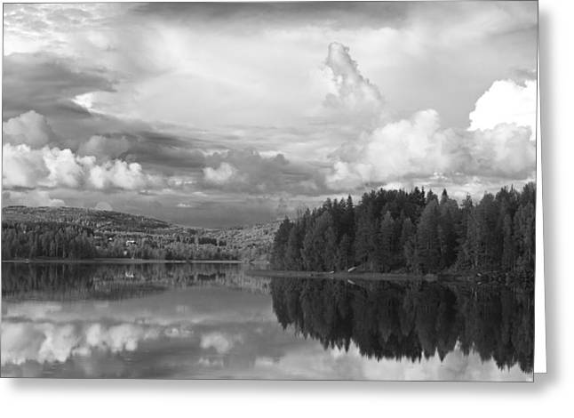 Boats In Water Greeting Cards - Tranquil summer lake - monochrome Greeting Card by Intensivelight