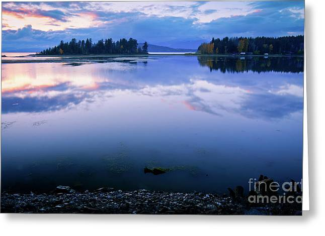 Fishermans Island Greeting Cards - Tranquil Sunset Greeting Card by Idaho Scenic Images Linda Lantzy