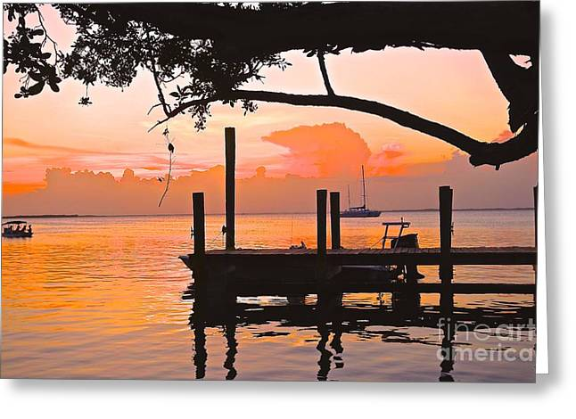 Tranquil Sunset Greeting Card by Judy Kay