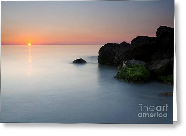 Beach Greeting Cards - Tranquil Sunset Greeting Card by Mike  Dawson