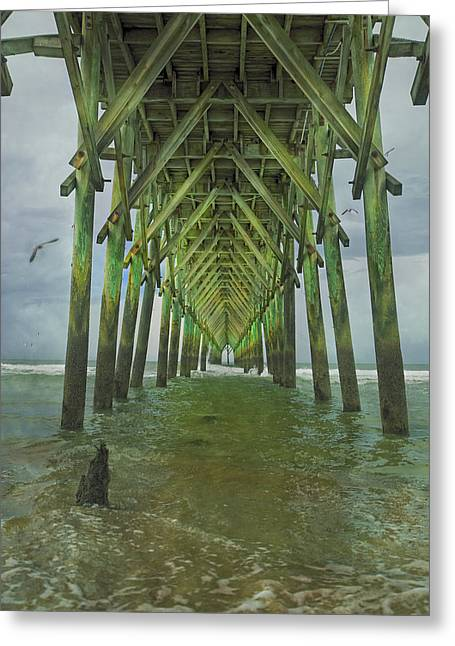 Tranquil Topsail Surf City Pier Greeting Card by Betsy Knapp