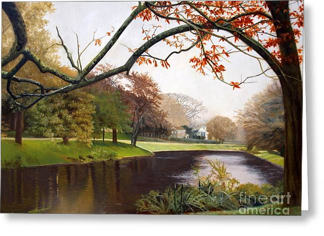 East Hampton Paintings Greeting Cards - Tranquil Town Pond in East Hampton Greeting Card by Barbara Barber