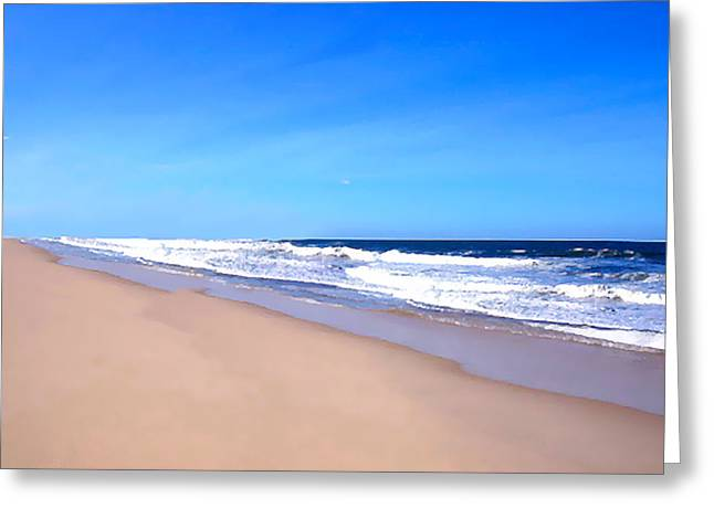 Ocean Shore Drawings Greeting Cards - Tranquility II By David Pucciarelli  Greeting Card by Iconic Images Art Gallery David Pucciarelli