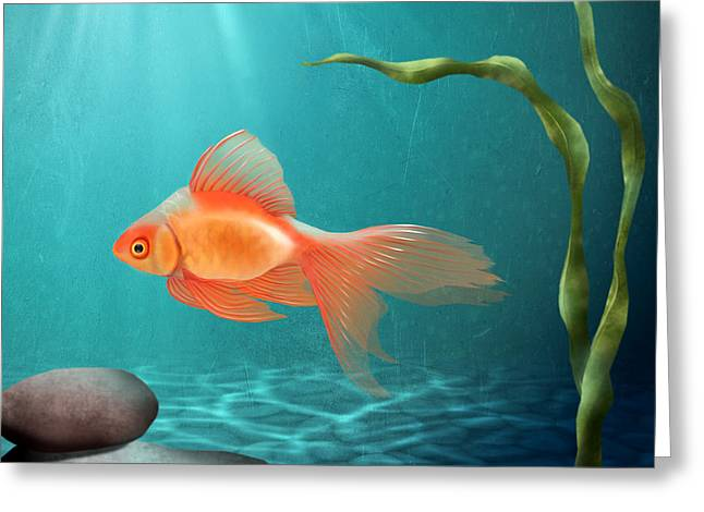 Aquarium Fish Digital Greeting Cards - Tranquility Greeting Card by April Moen