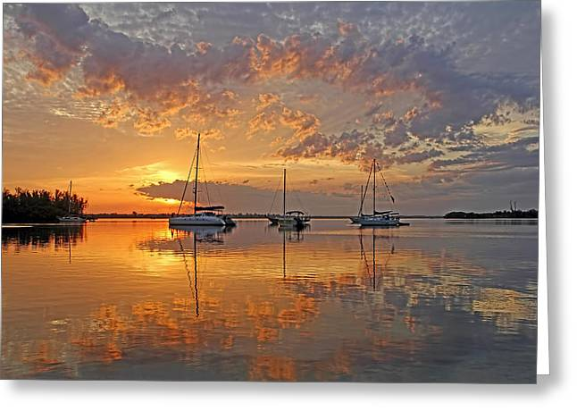Sailboat Art Greeting Cards - Tranquility Bay - Florida Sunrise Greeting Card by HH Photography of Florida