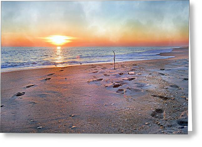 Foggy Ocean Greeting Cards - Tranquility Beach Greeting Card by Betsy C  Knapp
