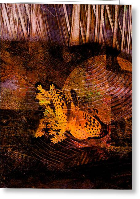Tranquility Butterfly Collage Art  Greeting Card by Ann Powell
