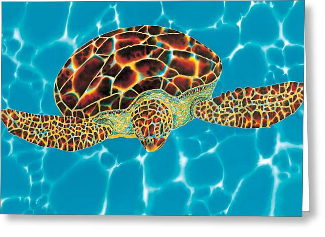 Silk Art Tapestries - Textiles Greeting Cards - Caribbean Sea Turtle Greeting Card by Daniel Jean-Baptiste