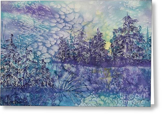 White Paintings Greeting Cards - Tranquility Greeting Card by Ellen Levinson