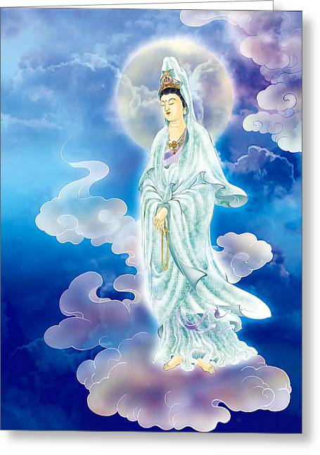 Kuan Greeting Cards - Tranquility Enabling Kuan Yin Greeting Card by Lanjee Chee